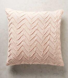 Anthropologie Textured Chevron 1 Euro Sham Coral Peach Pink Embroidered NEW