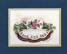 LAURIE KORSGADEN  DOUBLE MATTED CUP/SAUCER VICTORIAN STYLE PRINT FOR HOME DECOR