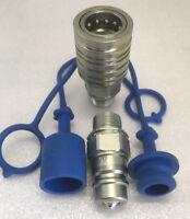 """Muffe 1//2 BG3 mit Schutz blau gelb Gr.3 2 x Hydraulik Kupplung 1//2/"""" IG Stecker"""
