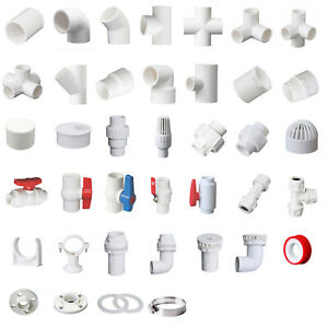 White PVC 50mm ID Pressure Pipe Fittings Metric Solvent Weld Various Parts