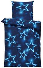 Winter Bettwäsche 135x200 cm Sterne dunkel blau leuchtoptik Flausch Thermofleece