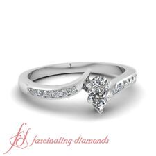 0.60 Ct Pear Shaped Natural Diamond Twisted Edge Channel Set Engagement Ring