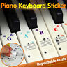 Removable PVC Piano Keyboard Stickers for 88/61/49/54/37 Keys Note Transparent