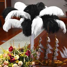 "20PCS Wholesale Natural Ostrich Feathers 12""-14"" Wedding Party Decor White&Black"