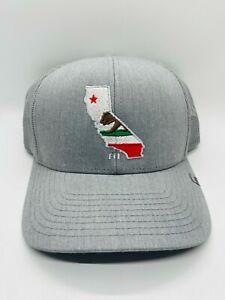 Travis Mathew Grey California Flag Trucker Mesh Snapback Golf Cap Hat Rare Used