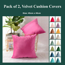 Pack of 2 Soft Velour Plain Cushion Covers Velvet Decorative Throw Pillow Cases