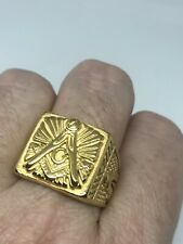 Vintage Free Mason Ring Golden Stainless Steel Size 10