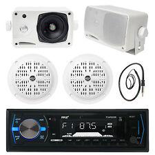 "5.25"" White Marine Speakers,Black Bluetooth USB Radio, 3.5"" Box Speakers,Antenna"