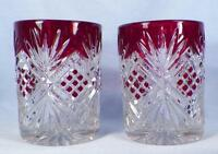 2 Diamond & Sunburst Zipper Tumblers Ruby Stain Early American Pattern Glass #1