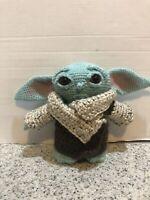 "The Child - Baby Yoda Mandalorian Fan Art Plush Crochet Doll - 10"" Tall"