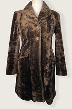 Karen Millen Vintage Faux Fur Coat Size 10 Brown Jacket
