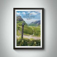 More details for west highland way scotland travel poster - framed - vintage - bucket list prints