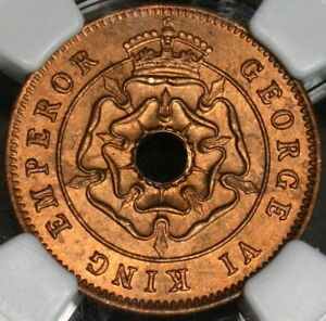 1943 NGC MS 65 RD Southern Rhodesia 1/2 Penny Full Red Coin (21091001C)
