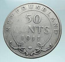 1911 CANADA Newfoundland UK King George V Genuine SILVER 50 CENTS Coin i82520
