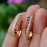1.50Ct Round Cut Red Ruby 14K Yellow Gold Over Huggie Hoop Earrings
