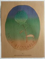 FOLON – AFFICHE – ANNÉE EUROPÉENNE DE L'ENVIRONNEMENT - «ROSE» - 50 x 65 CM