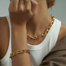 Hip Hop Chunky Oval Cuban Chain Necklace Choker 18k Gold Plated Stainless Steel