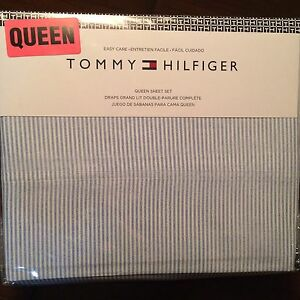 Tommy Hilfiger QUEEN Sheet Set ITHACA OXFORD STRIPE Chambray Blue 4pc Free Ship