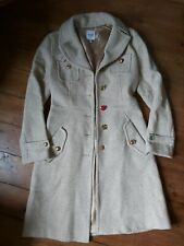 Moschino Jeans Wool Blend Gold Flecked Beige Coat With Mismatched Buttons Size14