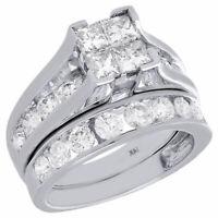 14K White Gold Quad Princess Diamond Channel Set Wedding Ring Bridal Set 3 Ct.