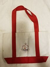 Canvas Beach Bag Embroidered Sailboat Anchor Birds Large Tote Bag 18 x 12 x 7