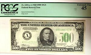 1934 $500 Bill Federal Reserve Note Boston PCGS XF45 Fr.2201-A