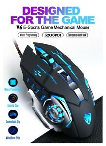 Gaming Mouse Wired 6 Button 3200 DPI Adjustable Ergonomic Optical LED PC Laptop