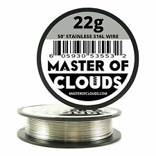 SS 316L - 50 ft. 22 Gauge AWG Stainless Steel Resistance Wire 0.64 mm 22g 50'