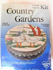 Vintage 90's Cross Stitch Kit Country Gardens Embroidery box Goose