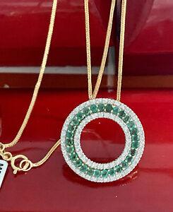 "14K Yellow Gold Natural Round 2.50CT Emerald Diamond Circle Pendant Chain 18"""