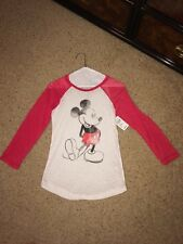 dELiA*s Mickey Mouse Graphic T-Shirt 3/4 Raglan Sleeve Size XS