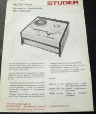 STUDER A80/RT QUADRA DOCUMENTATION  ORIGINAL