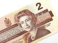 1986 Canada 2 Dollars BGW Uncirculated Canadian Thiessen Crow Banknote M943