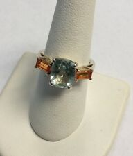 Sterling Silver Orange & Blue Cubic Zirconia Stone Ring Size 7