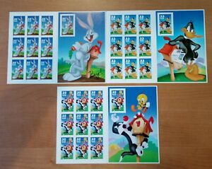 Bugs Bunny,Daffy Duck & Sylvester and Tweety Full Pane of Ten 32 Cent Stamps New