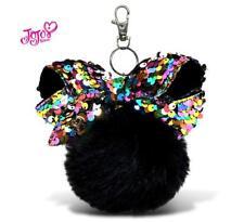 Keychain Jojo Siwa Furball w/ Sparkly Bow Black Pom Ball Fashion for Purse Punk