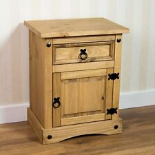 Corona Bedside Cabinet 1 Drawer Door Solid Mexican Pine Waxed By Home