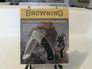 Browning Folding Liner Lock Knife & Aluminum Handled Knife Sharpener NOS