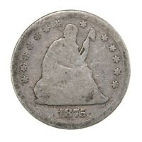 Raw 1875 Seated Liberty 25C Circulated US Mint 90% Silver Quarter Coin