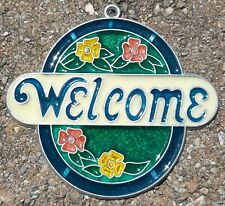 Suncatcher vintage Welcome Sign with Flowers, Window Decoration Ornament 4x4