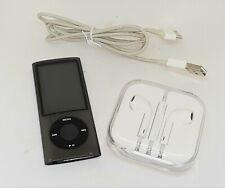 Apple iPod Nano 5th Generation 8GB Black Chrome Bundle Lot with Earpods & USB