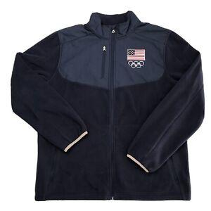 Authentic USA 2016 Olympics Team Stitched Navy Fleece Zip Up Jacket Sz L
