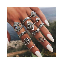 Nataliya 10 Pcs Antique Silver Leaf Stone Midi Knuckle Statement Ring Set
