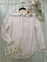 Joules Size 10 white patterned super duper shirt Tippi cotton blend long sleeve