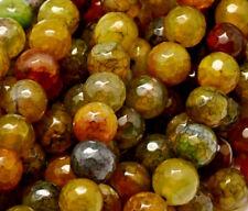 10 perles semi précieuses gemmes AGATES CRAQUELEES FACETTES 8mm MIEL //76