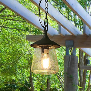LOG BARN Outdoor Lantern Pendant Painted Black Metal with Clear Bubbled Glass