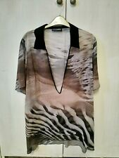 LADIES BLACK PATTENED DORIS STREICH TOP SIZE L Brand New Without Tags