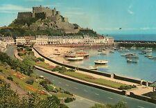 Scenic JERSEY POSTCARD Mt Orgueil Castle Gorey SHORE boats harbour Channel Isl