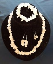 Home-made Quartz Jewelry set - Necklace + Bracelet + 2x Earing sets