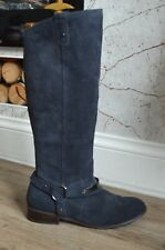 CLARKS Navy blue suede knee high riding style boots UK 7